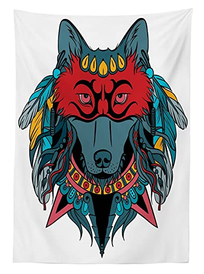 vipsung Tribal Mantel Indio Guerrero Lobo Retrato con máscara Plumas Nativo Americano Animal Art Comedor Cocina