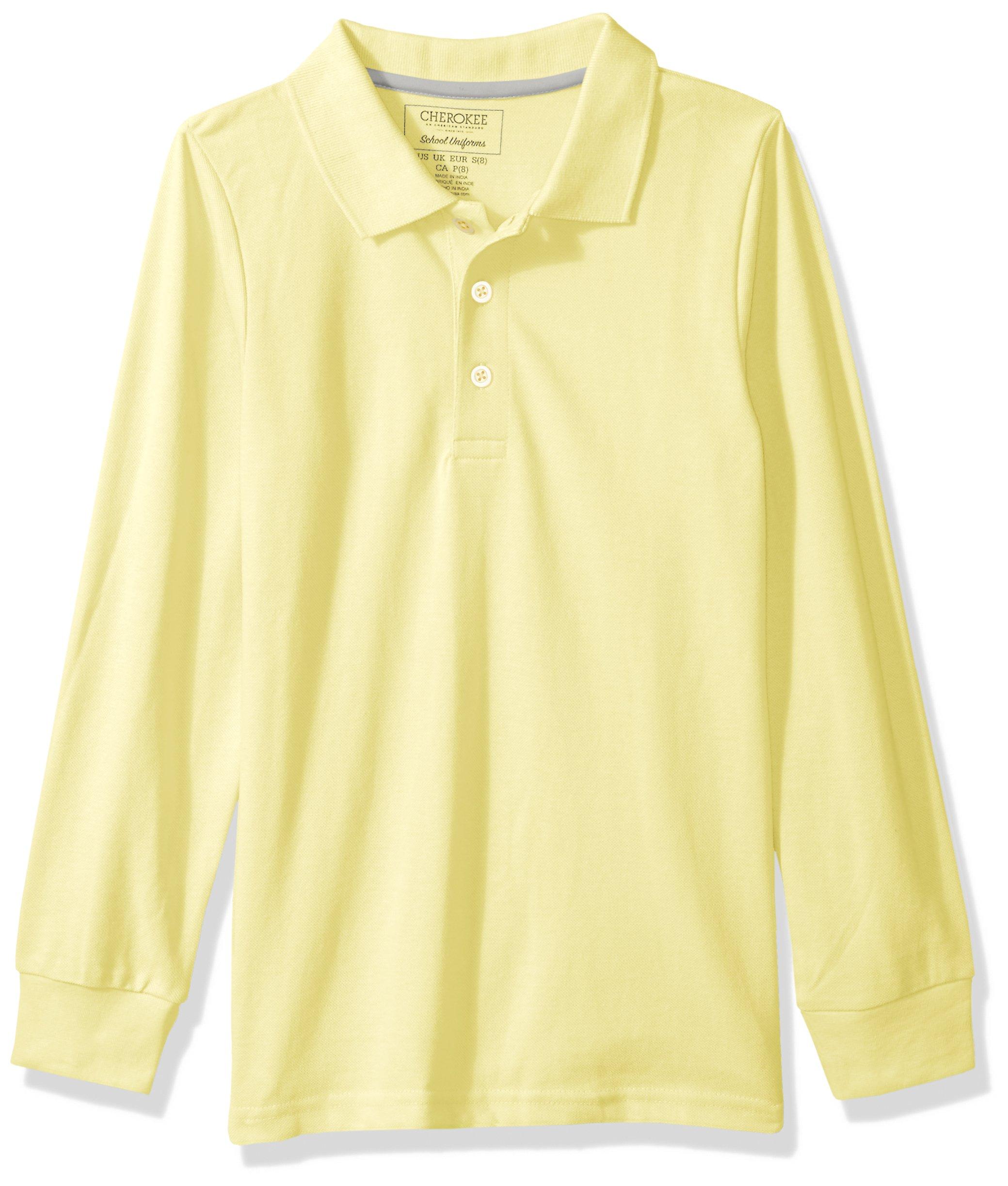 Cherokee Big Boys' Uniform Long Sleeve Pique Polo, Light Yellow, 14/16