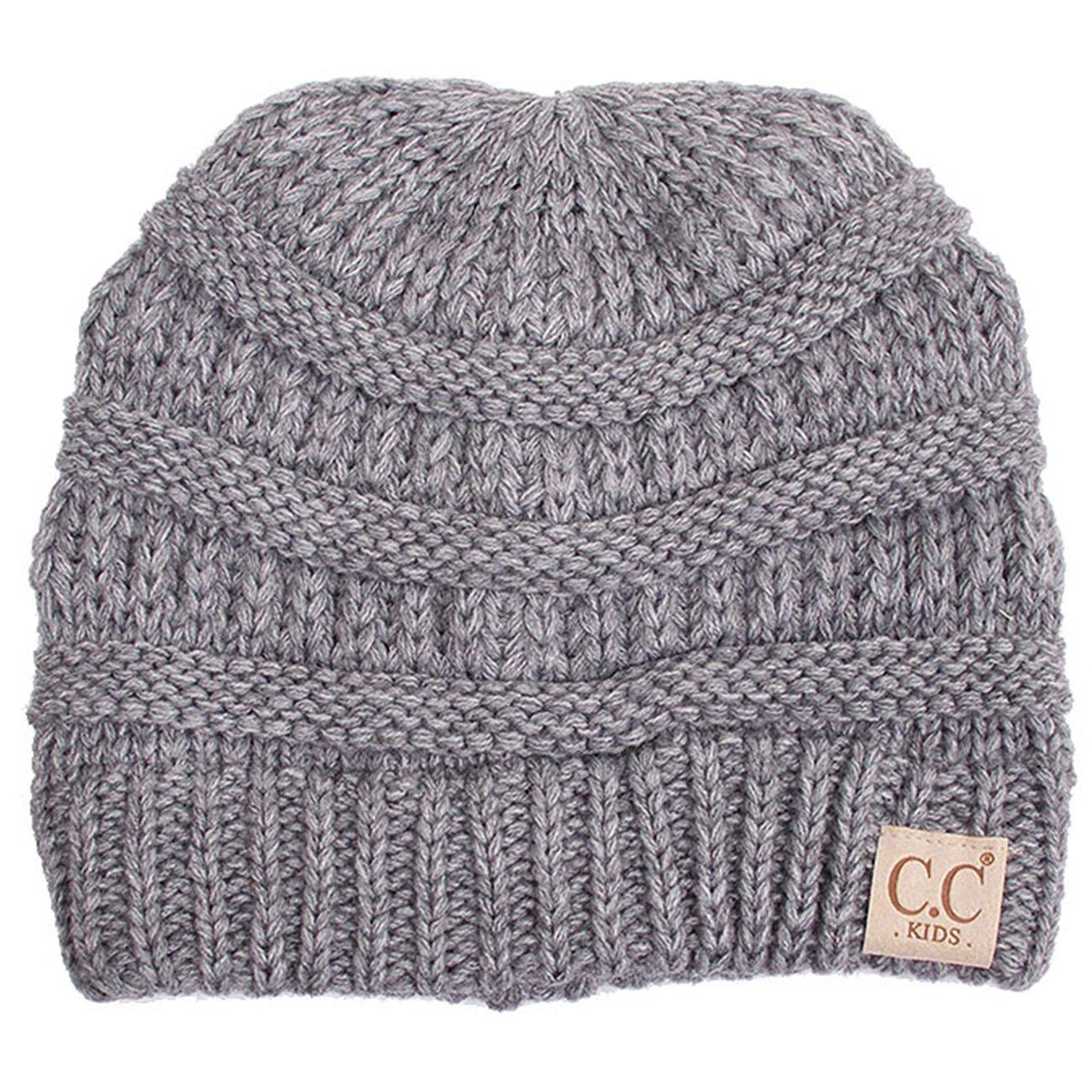 ScarvesMe Exclusive CC Knitted Children Knit Beanie (Light Melange Grey)