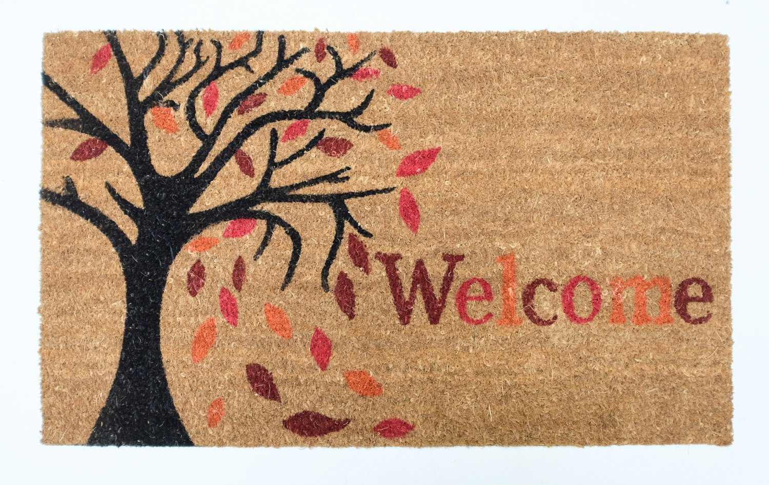 Heavy Duty Entry Way Shoes Scraper Patio Rug Dirt Debris Mud Trapper Waterproof Black Coco Leaves J /& M Home Fashions 81372A 18x30 J/&M Home Fashions Natural Coir PVC Non-Slip Outdoor//Indoor Thanksgiving or Fall Doormat