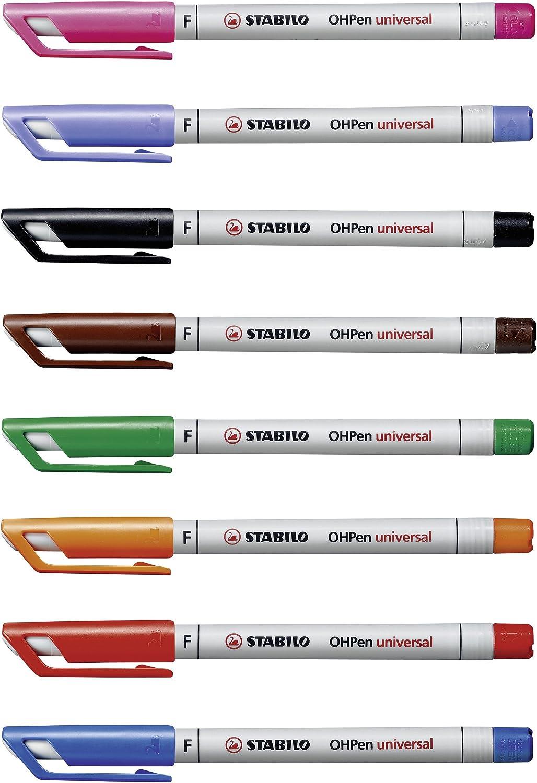 wasserl/öslich fein schwarz 4er Pack rot STABILO OHPen universal Folienstift gr/ün blau