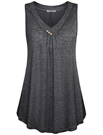 2936cdb2bf02a Amazon.com  Cestyle Womens Sleeveless V Neck Shirts Pleated Front ...