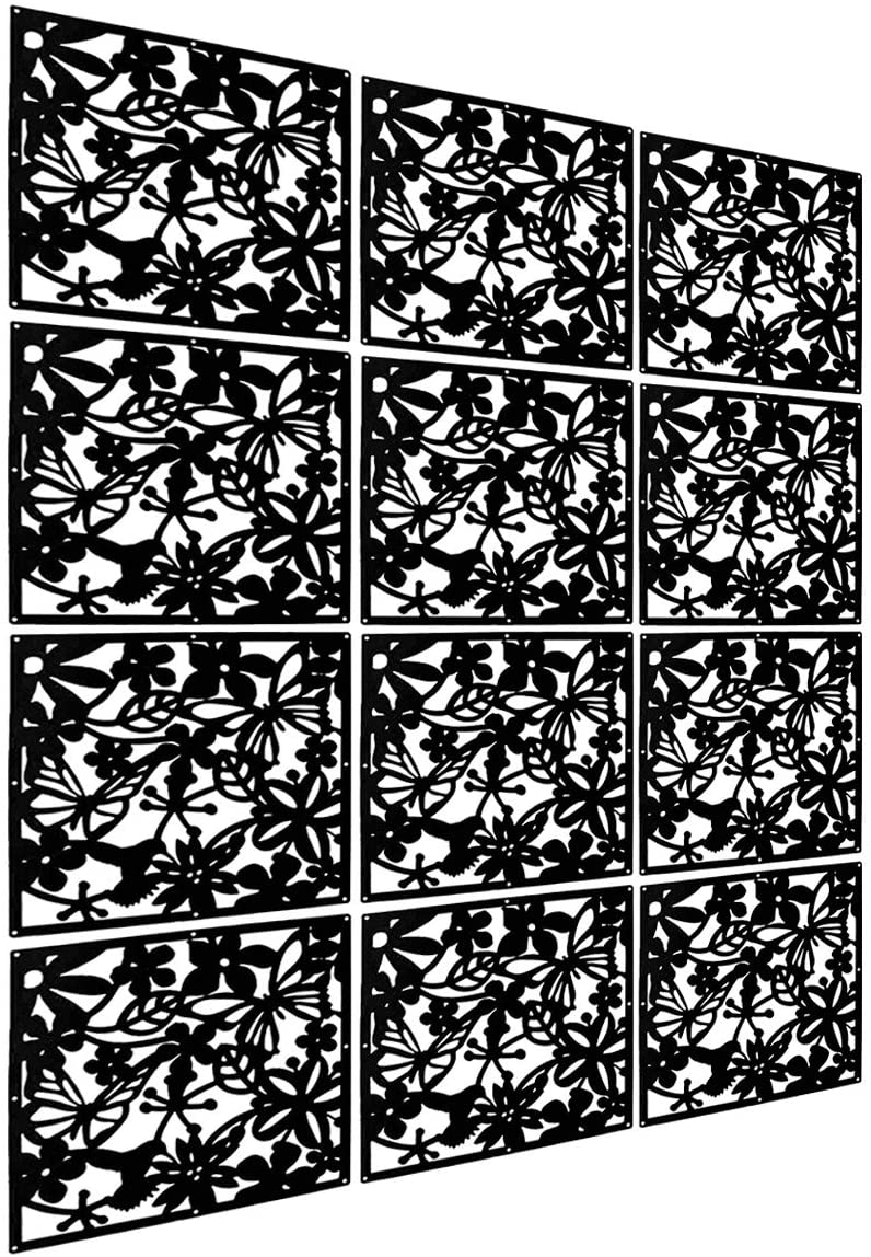 LRZCGB Hanging Room Divider,12pcs Safety PVC Screen Panel with Butterfly Flower for Decorating Living, Dining, Study and Sitting-Room, Hotel, Bar (Black)