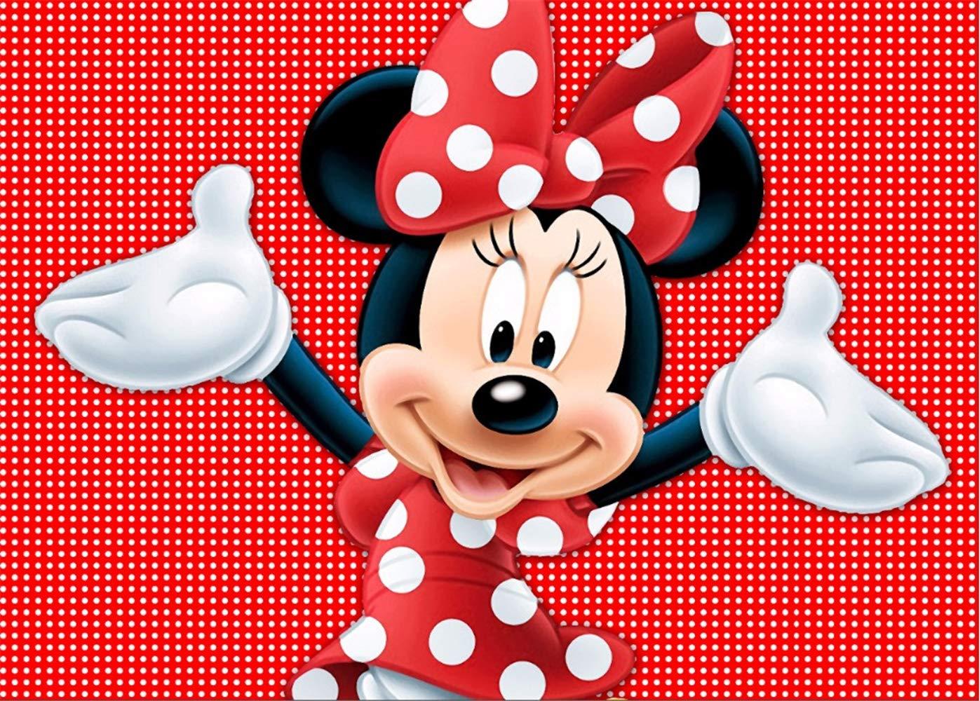 赤と白のミニーマウス 誕生日バナー 個人パーティー背景装飾 7x5 写真背景 新生児 ベビーシャワー 写真スタジオ小道具   B07NRSWJW4