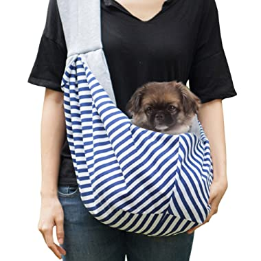 Timetuu Dog Sling Carrier for small dogs - Adjustable puppy pet tote - reversible cat dogs slings - convenient papoose - Soft Zipped Pocket Pouch - Secure your furry friend - Up to 12~15 lbs