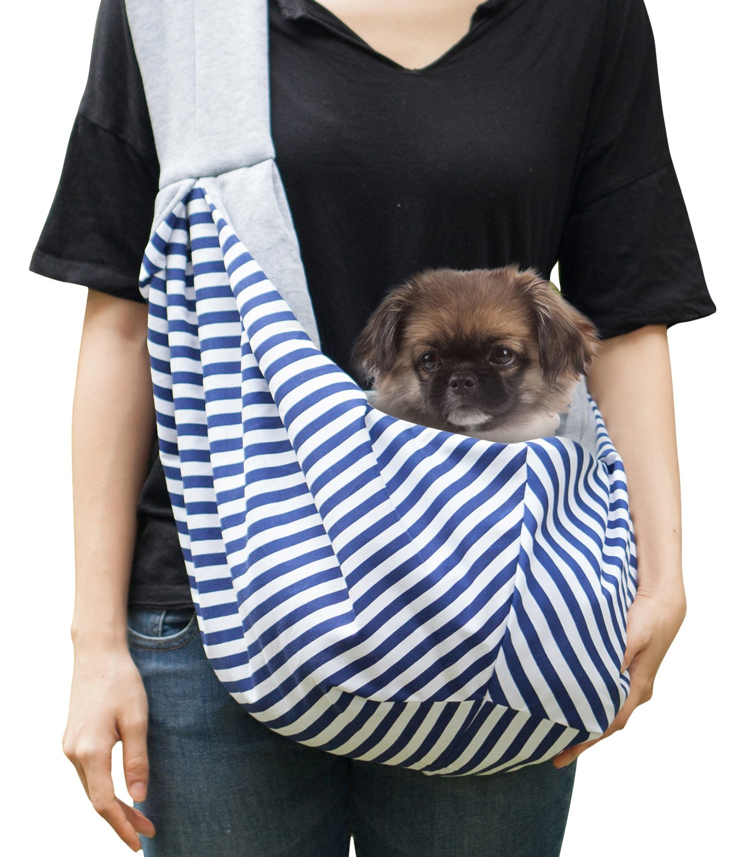 Timetuu BUY Hands-Free dog Carrier Sling , Soft Zipped POCKET, Waterproof BAG for Small Dogs, Cat Rabbit Pets Puppies. Reversible double-sided tote Pouch comfortable shoulder carry Travel kitty puppy