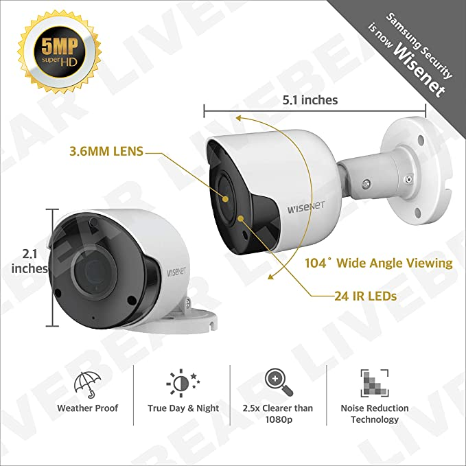 45 2 Pack Wisenet SDC-89445BF 5MP HD Camera w// Cable SDH-C85100BF SDH-C84085