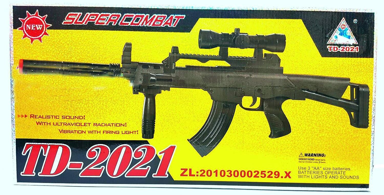 TD-2021 Kids Toy Military Assault Rifle Gun with Flashing Lights Sound Vibration