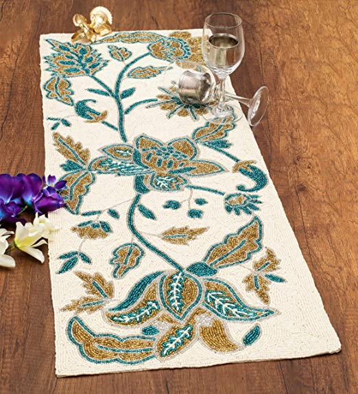 Linen Clubs Hand Made Beaded Table Runner 13x36 Inch in Teal Gold silver heart