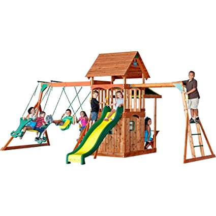 Amazon Com Backyard Discovery Saratoga All Cedar Wood Playset Swing