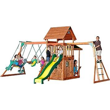 backyard discovery saratoga all cedar wood playset swing set - Cedar Swing Sets
