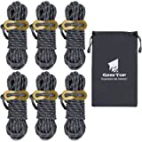 GEERTOP 6 Pack 4mm Reflective Guylines for Camping Tent Rope Guide Cord with Aluminum Adjuster for Outdoor Travel