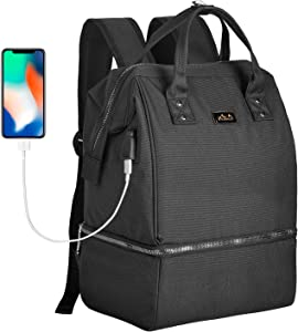 Viedouce Lunch Bags for Women Work Insulated School Backpack Breast Pump Bag with Cooler USB Charging Port Dual Compartment Multi Pockets, Black
