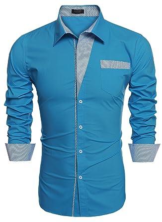 Coofandy Chemise Homme Coton Manche Longue Bleu Col Italien Décontracté Casual Taille S XXXL