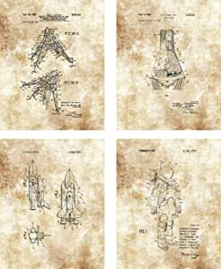 Ramini Brands Original NASA Patent Artwork - Set of 4 8 x 10 Unframed Prints - Great Gift for Astronauts, Astronomers and Outer Space Fans - Home Office Decor