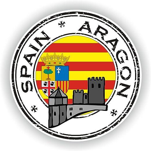 Tiukiu España Aragon Seal calcomanía Redonda Bandera para portátil, Libro, Nevera, Guitarra, Casco de Motocicleta, Caja de Herramientas, Puerta PC Barco: Amazon.es: Hogar