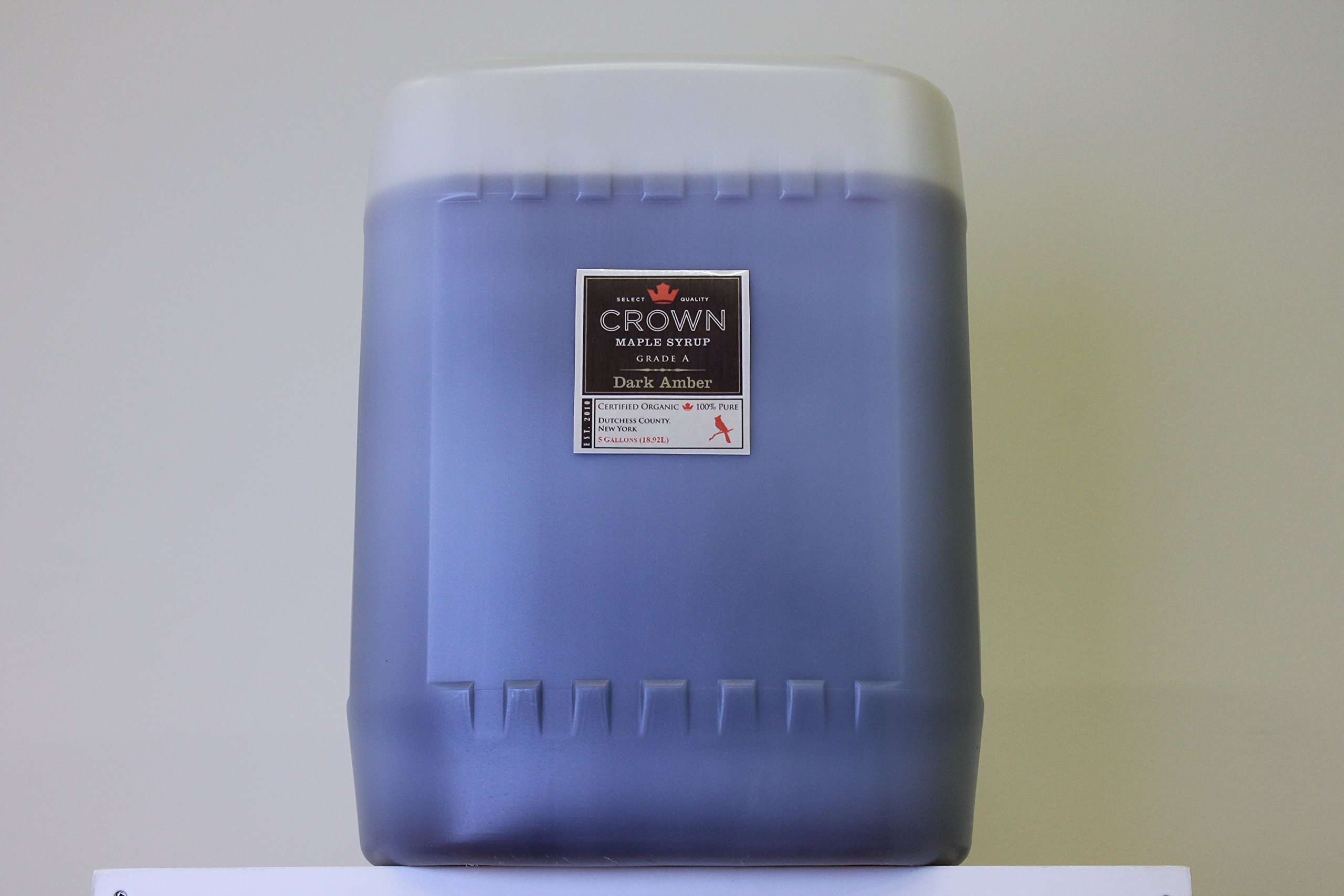 Crown Maple Organic Dark Color - Robust Taste Syrup Five Gallon Plastic Jug