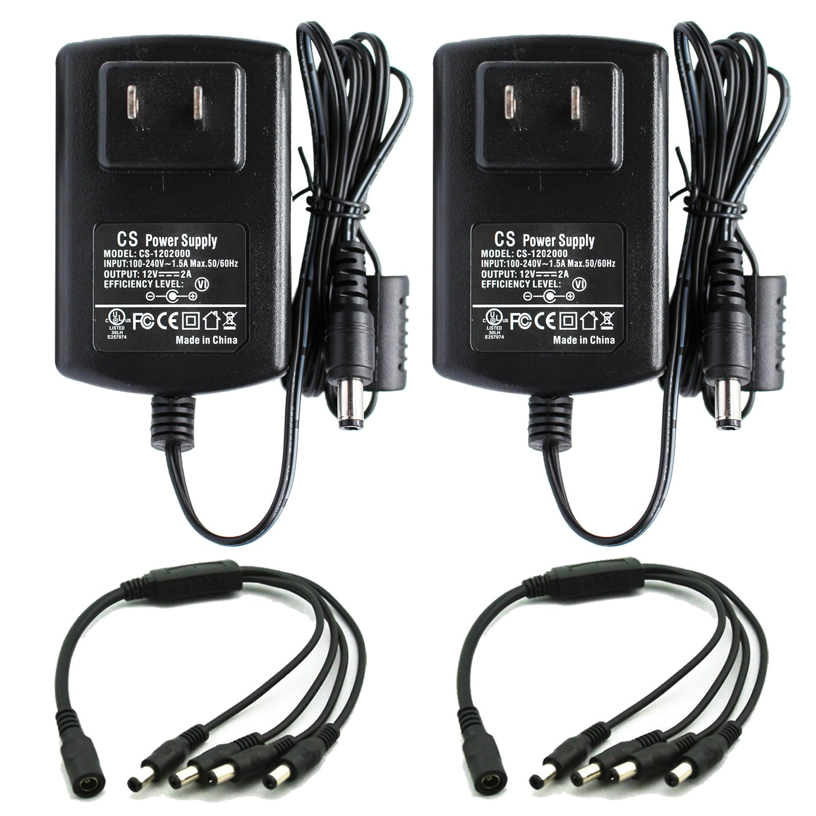 ANVISION 2-Pack AC to DC 12V 2A 2000mA Power Supply Adapter with 1 to 4 Splitter Cable 5.5x2.1mm For Led Light Strips NVR DVR Camera, Efficiency Level VI, UL Listed FCC RoHS