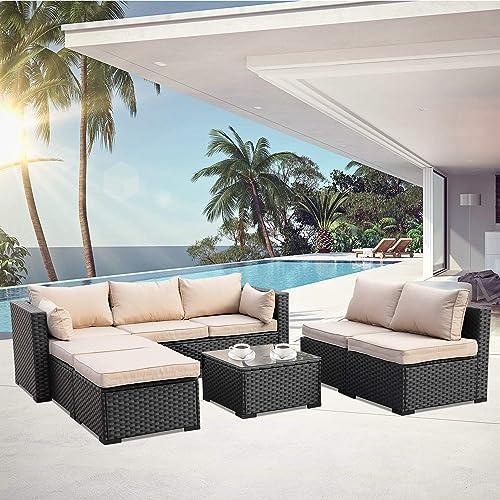 Outdoor PE Rattan Furniture Set 6 Piece Patio Wicker Sectional Sofa Chair