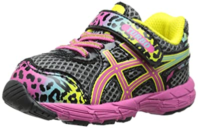 ASICS Turbo TS Running Shoe (Toddler), Charcoal/Rainbow/Cheetah, 4