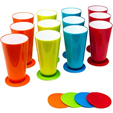 12 Pack 20 oz Plastic Tumblers, Cafe Break-Resistant Drinking Glasses Set w/Silicone Coasters by Talented Kitchen. Premium Quality, Translucent Effect Reusable Outdoor & Kids Cups in 4 Assorted Color