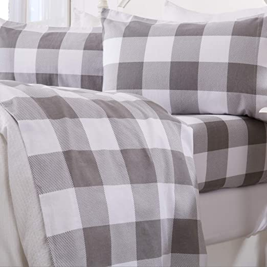 Amazon Com Great Bay Home 3 Piece Extra Soft Buffalo Check 100 Turkish Cotton Flannel Sheet Set Heavyweight Warm Cozy Luxury Winter Deep Pocket Bed Sheets Belle Collection Twin Grey Home Kitchen