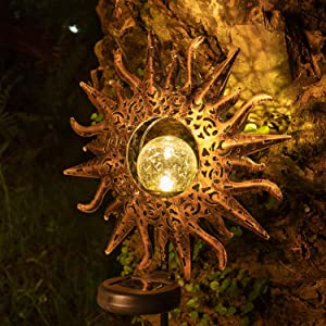 Solar Lights Garden Outdoor Decorative,LED Sun Decor Waterproof Metal Stakes,Solar Powered Art Crackle Glass Globe Lights for Walkway,Yard,Lawn,Patio Decor