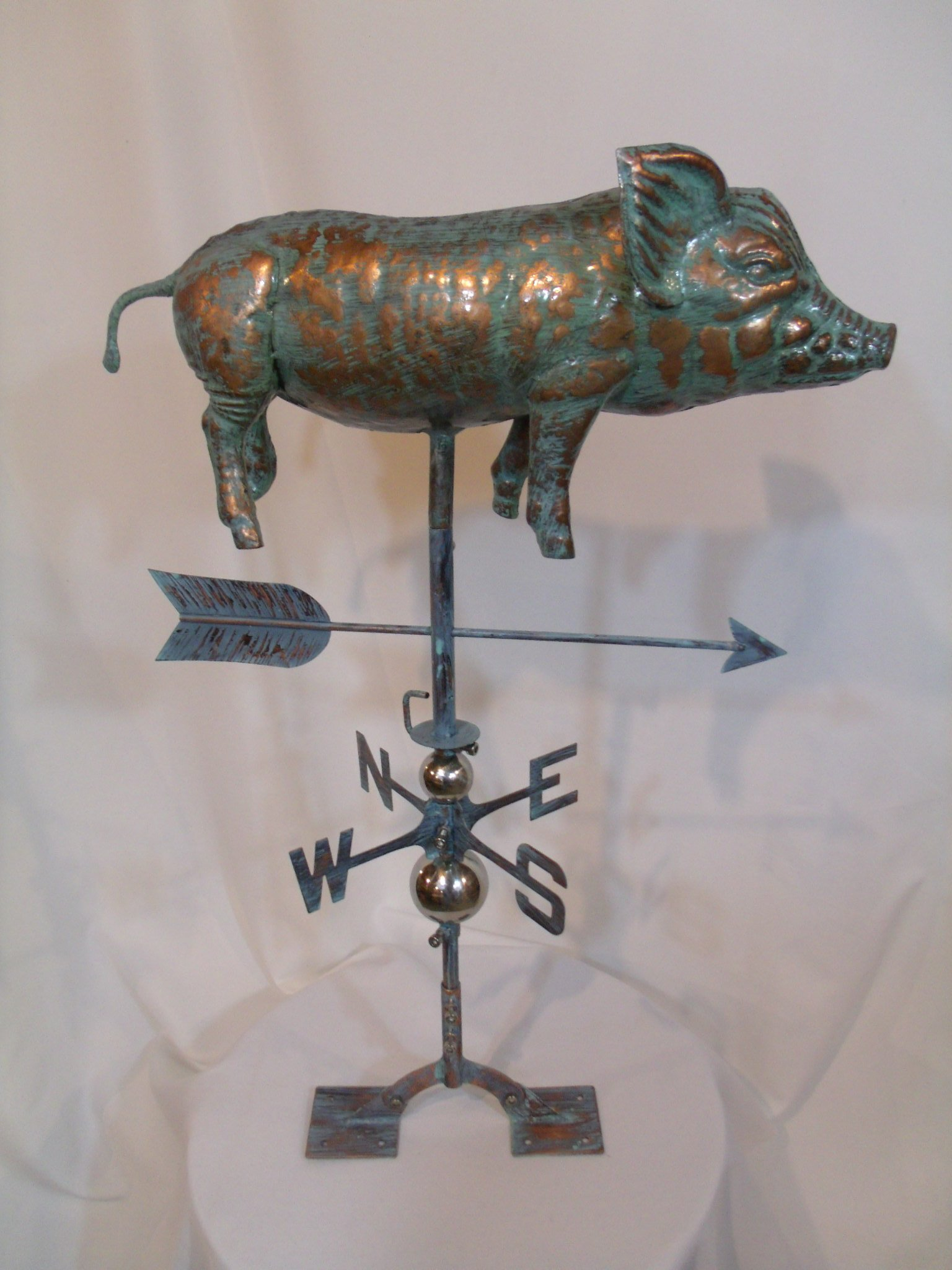 LARGE Handcrafted 3D 3- Dimensional Full Body Pig Weathervane Copper Patina Finish by Furniture Barn USA