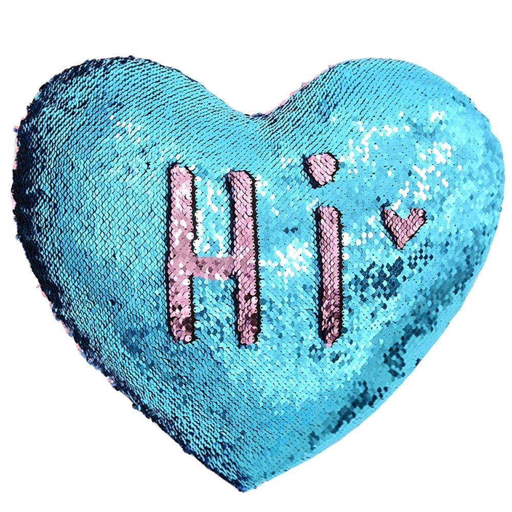 Heart Shape Sequin Pillow with Insert Mermaid Reversible Color Change Throw Shiny Two Color Flip Cushion Magic Write On Girls Gift Bolster for Sofa Couch Bedroom Car 14'' x 15.5'',Blue and Pink by URSKYTOUS (Image #2)