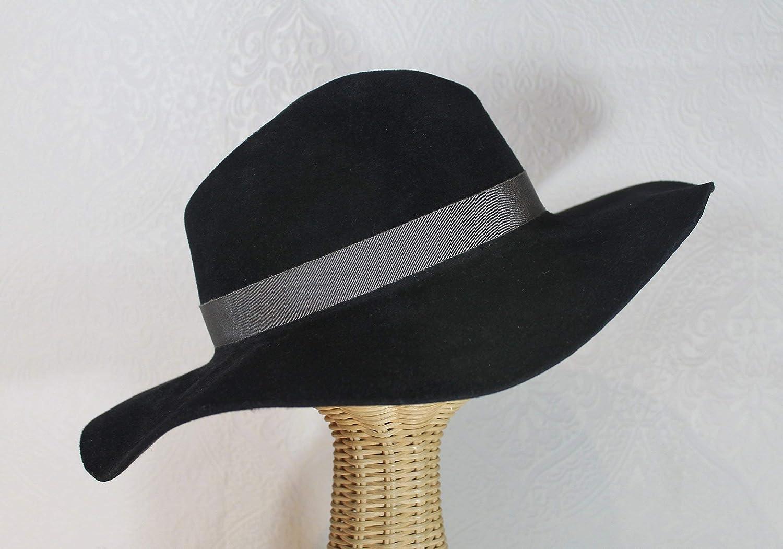 fcacfae8815 Amazon.com  Katharine Wide Brim Women s Velour Felt Fedora in Black   Handmade