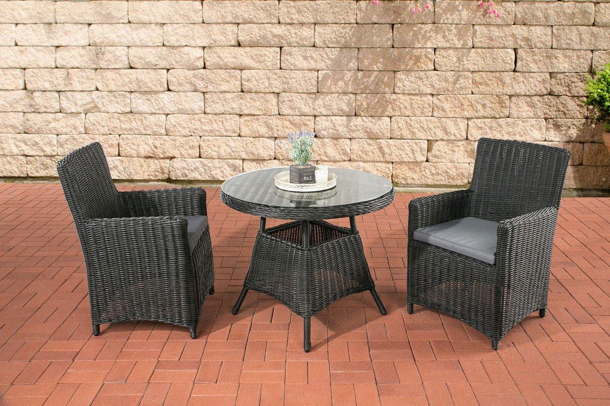 CLP Poly-Rattan Sitzgruppe QUITO, 5 mm Rund-Rattan, Alu-Gestell (2 Sessel, Tisch rund Ø 90 cm) ideal für Balkon und Terrasse Rattan Farbe schwarz, Bezugfarbe eisengrau