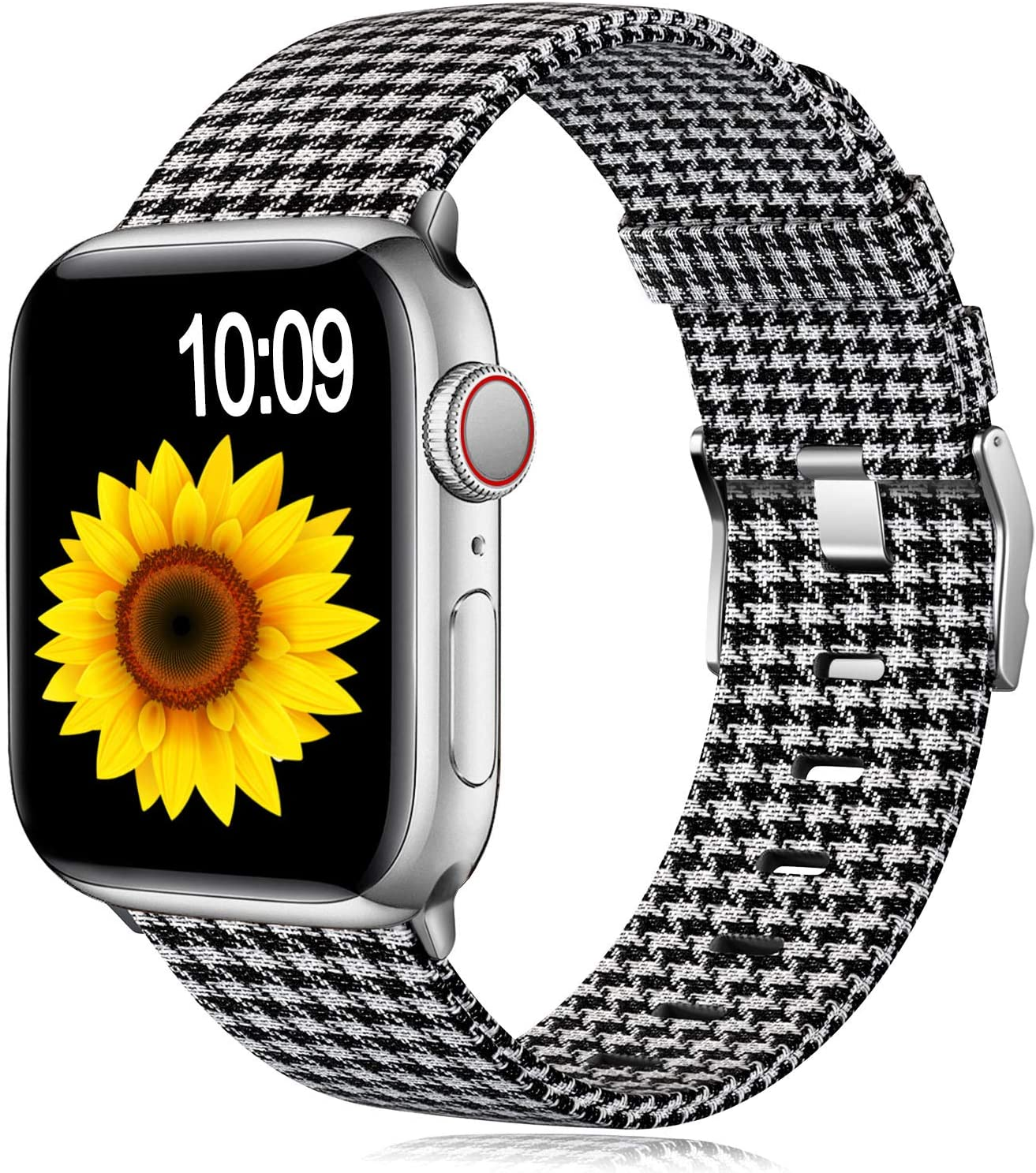 Muranne Compatible with Apple Watch Band 42mm 44mm, Stylish Adjustable Soft Lightweight Breathable Replacement Bands for iWatch SE & Series 6 & Series 5 4 3 2 1, Grid Black White