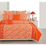 Swayam Eco Sparkle 140 TC Cotton Single Bedsheet with Pillow Cover - Floral, Orange