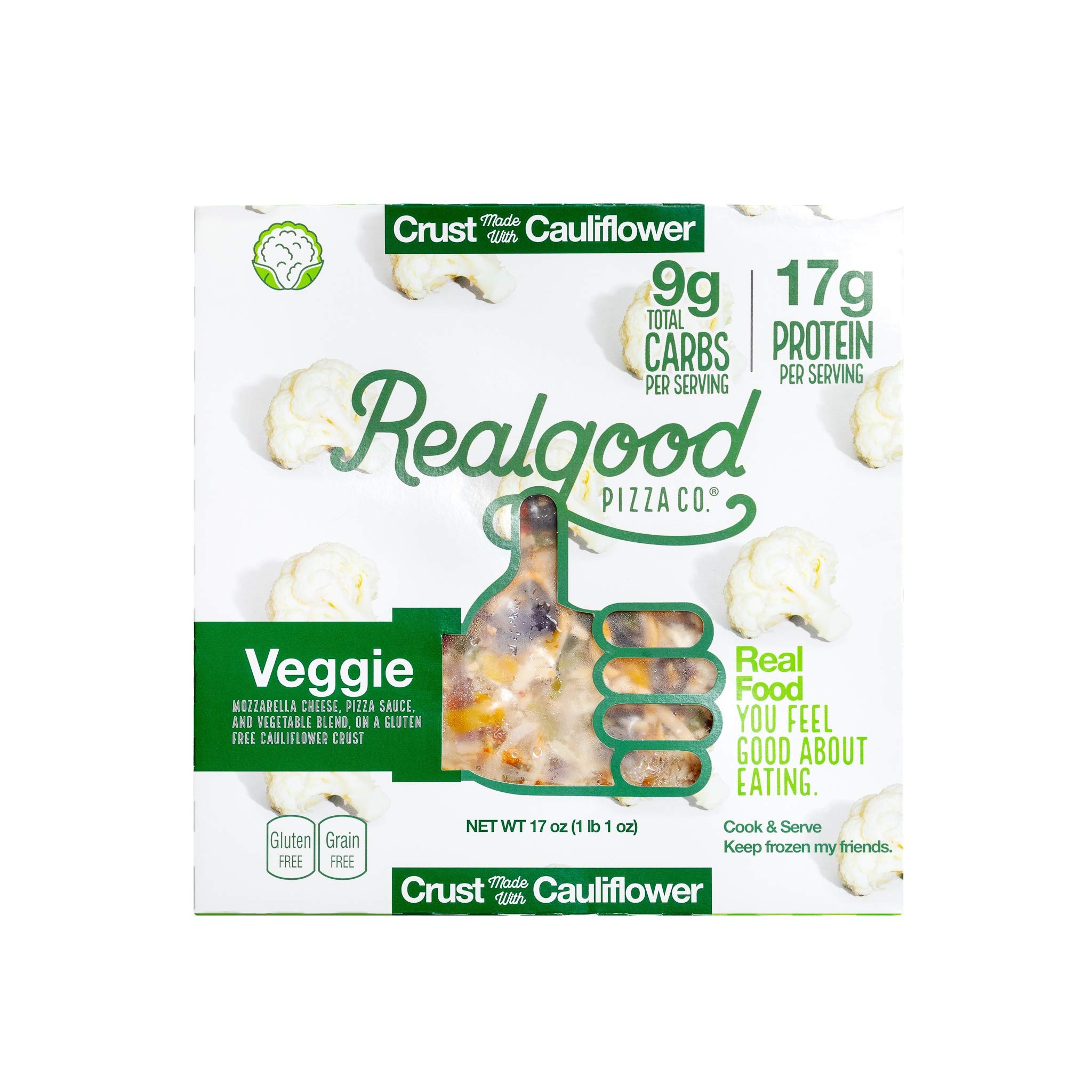 Real Good Foods, Low Carb - High Protein - Gluten Free - 11'' Cauliflower Crust Pizza, Vegetable (4 Count) by Real Good Foods