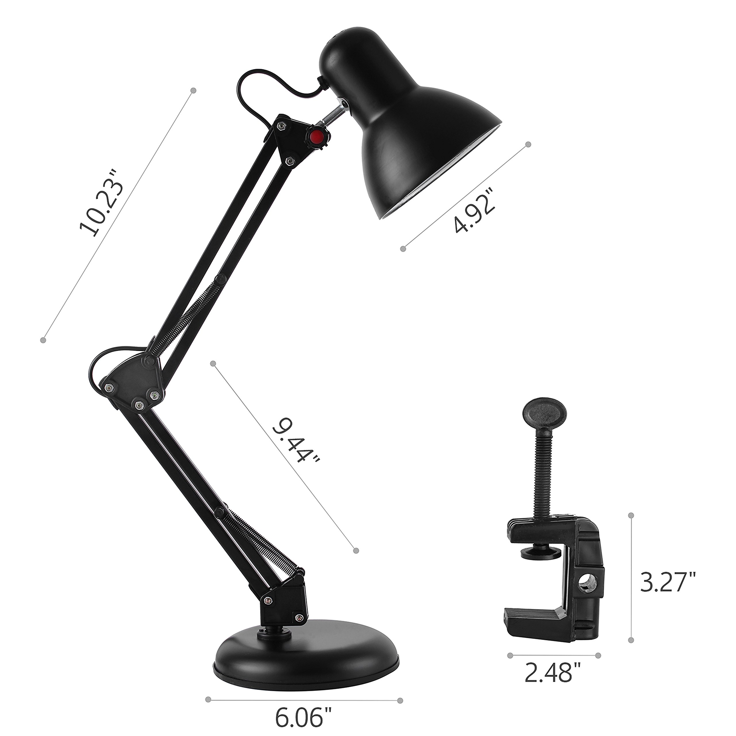 JIEDING Swing Arm Desk Lamp,Clamp-on Table Light with On/Off Switch,2 in 1 Metal Classic Architect Style for Study Room,Office,Studio,Dormitory(Black)(Small)