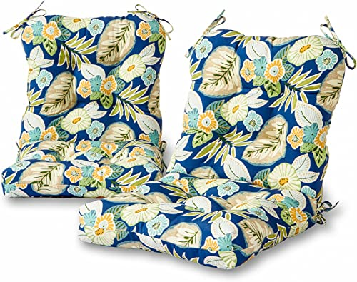 Greendale Home Fashions Outdoor Seat Back Chair Cushion Set of 2 , Marlow Blue Floral
