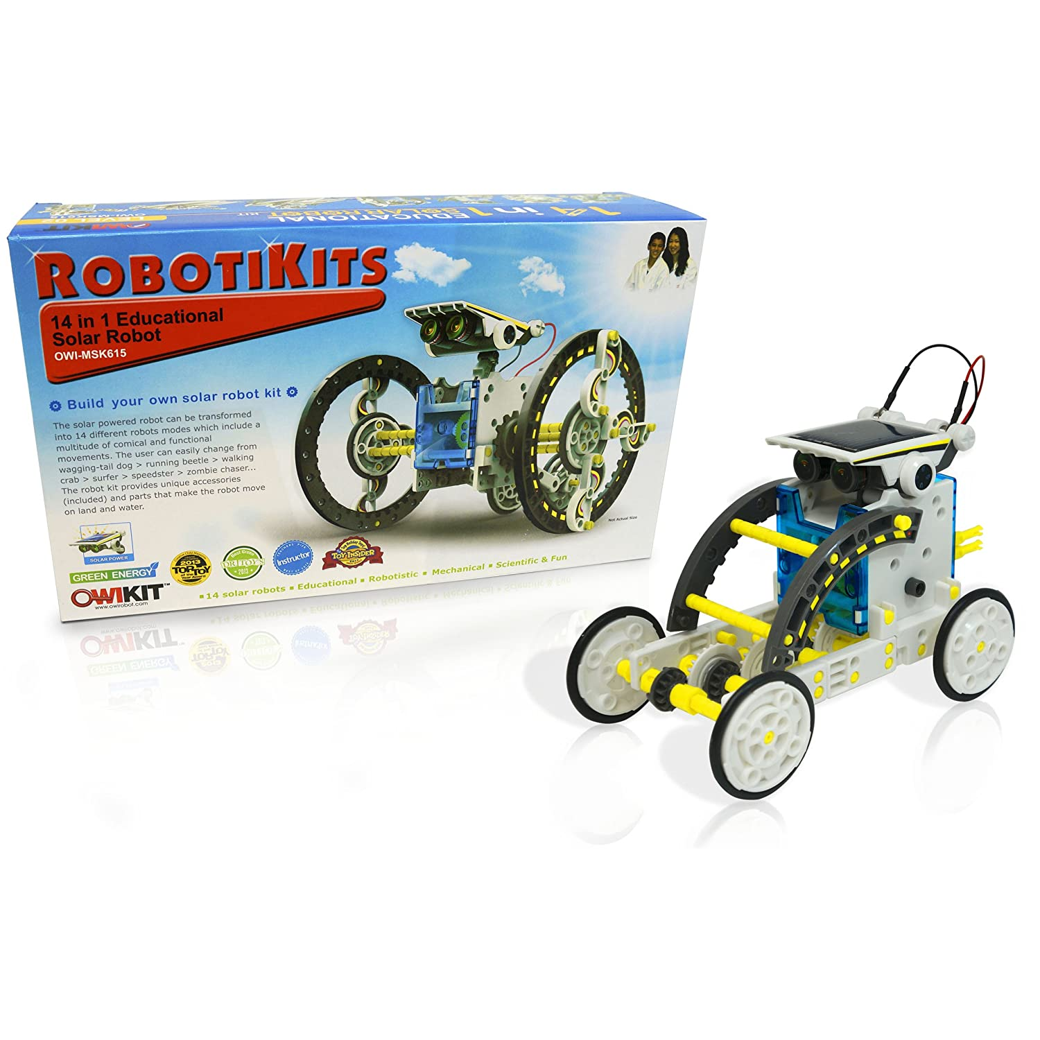 robot kit with constructed robot on wheels