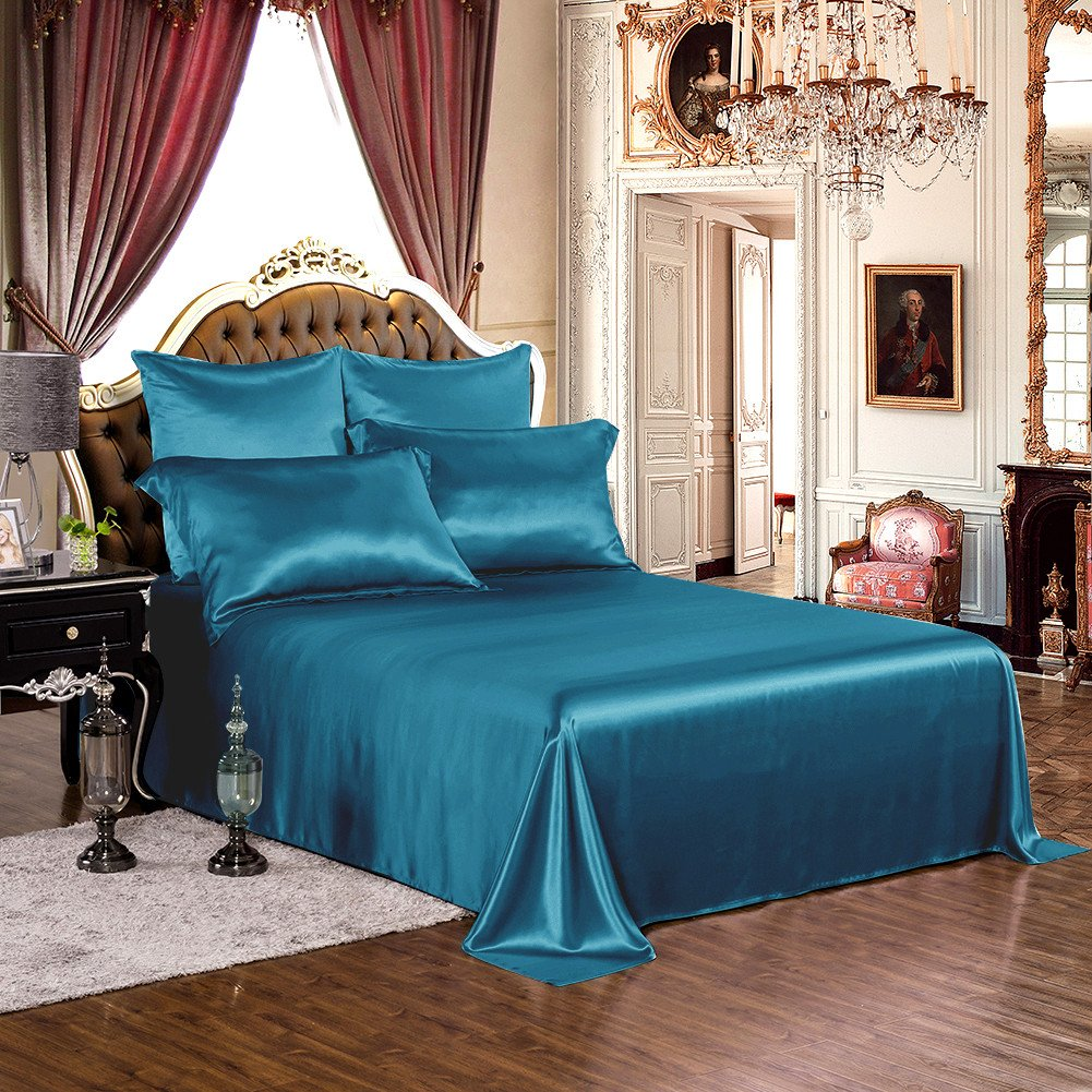 THXSILK 1 Pc Silk Flat Sheet, 19 Momme Silk Bed Sheet with Fine Embroidery, Ultra Soft Pure Mulberry Silk Bedding- Hypoallergenic, Machine Washable, Durable- King Size, Royal Blue
