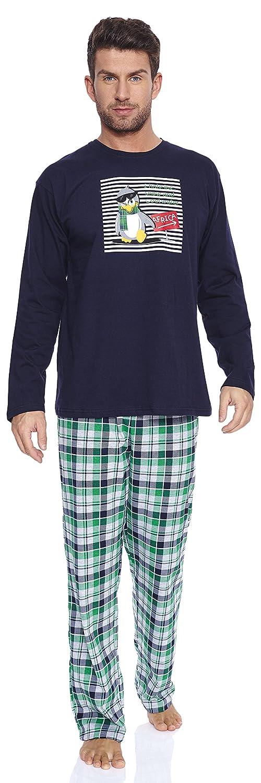 Cornette Hombre Pijamas 100% Algodón Agradable Set Pijama Pantalones Camisetas Mangas Largas 124 2016: Amazon.es: Ropa y accesorios