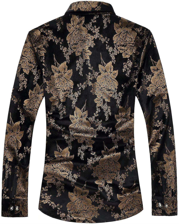 HENGAO Mens Luxury Golden Floral Velvet Dress Shirt