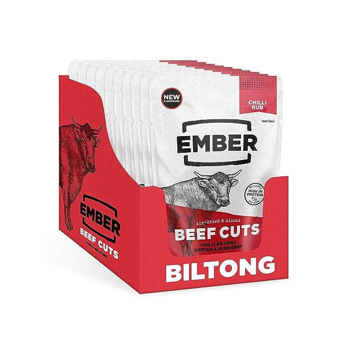 32 opinioni per Ember Biltong – Carne Secca Beef Jerky Chili – Snack Proteico Tascabile, Senza