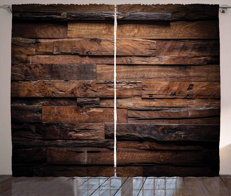 ABAKUHAUS Chocolate Cortinas, Madera en Bruto Oscuro, Sala de Estar Dormitorio Cortinas Ventana Set de Dos Paños, 280 x 175 cm, Marrón Oscuro Marrón