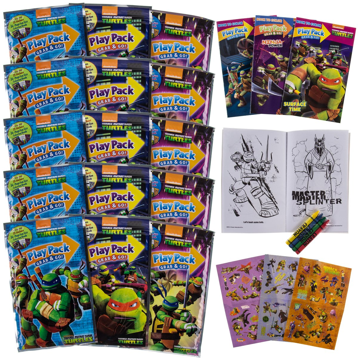 Set Of 15 Teenage Mutant Ninja Turtles Play Packs Fun Party Favors Coloring Book Crayons Stickers