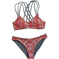 CUPSHE Women's Red Geometric Print Reversible Triangle Bikini Set Push Up Swimwear