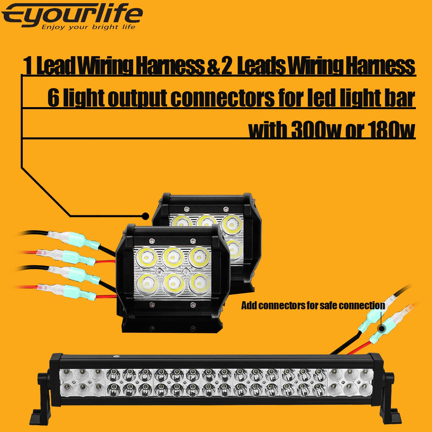 Eyourlife Led Light Bar Wiring Harness 2pcs 2 Leads For Heavy Duty Suitable Hid Halogen And Bars 180w 12v 30a 1 Lead 300w 40a Fuse Relay On Off Switch 14awg 12ft Length