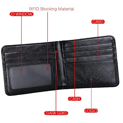 FlyHawk RFID Blocking Genuine Leather Wallets Men's Biford Mini Wallets