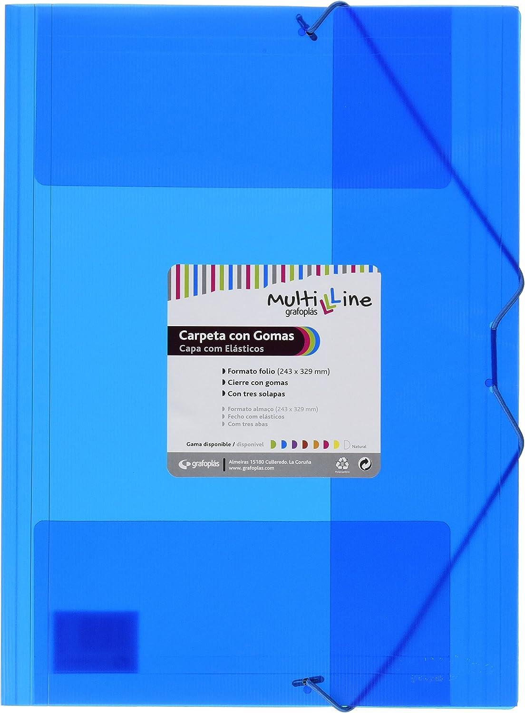 Grafoplás 04801830-Pack de 6 carpetas con gomas Multiline, tamaño folio, color azul