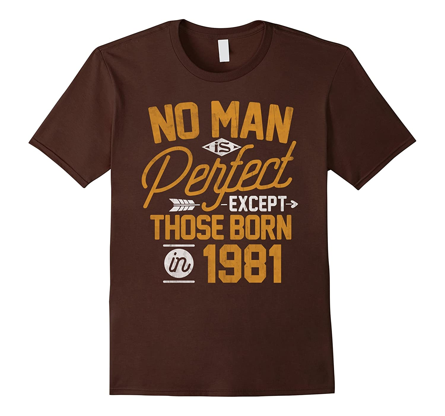36th Birthday Shirt for 36 Years Old No Man Is Perfect 1981-PL