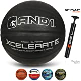 "AND1 Xcelerate Rubber Basketball (Inflated) OR (Deflated w/Pump Included): Official Regulation Size 7 (29.5"") Streetball…"