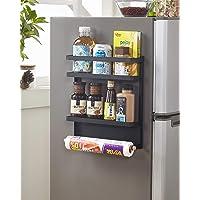 Magnetic Fridge Organizer, Towel Holder, Kitchen Rack, Rustproof Spice Jars Rack, with 2 Removable Mobile Hooks (Black)